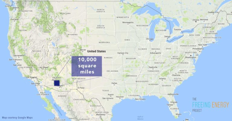 The total area needed to power the entire US with solar energy
