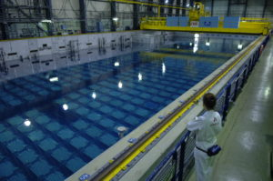 A nuclear cooling pool at the la Hague reprocessing plant