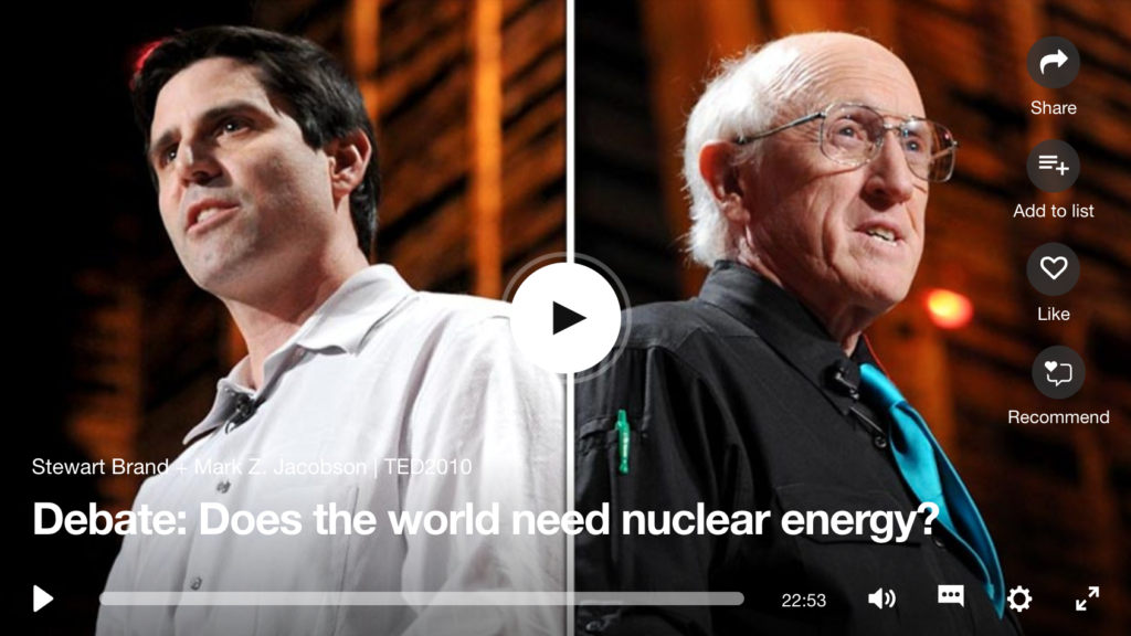 Steward Brand and Mark Jacobson TED talk on nuclear power