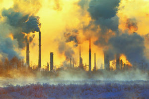 smoke and pollution come from stacks