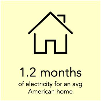 a megawatt hour can power an avg American home for 1.2 months