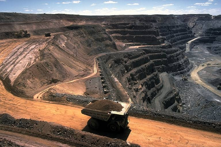An example of coal strip mining, a type of surface mining