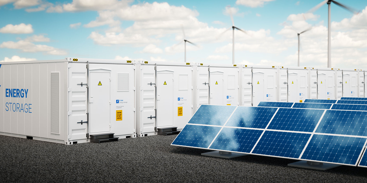 Image of clean energy generation and batteries