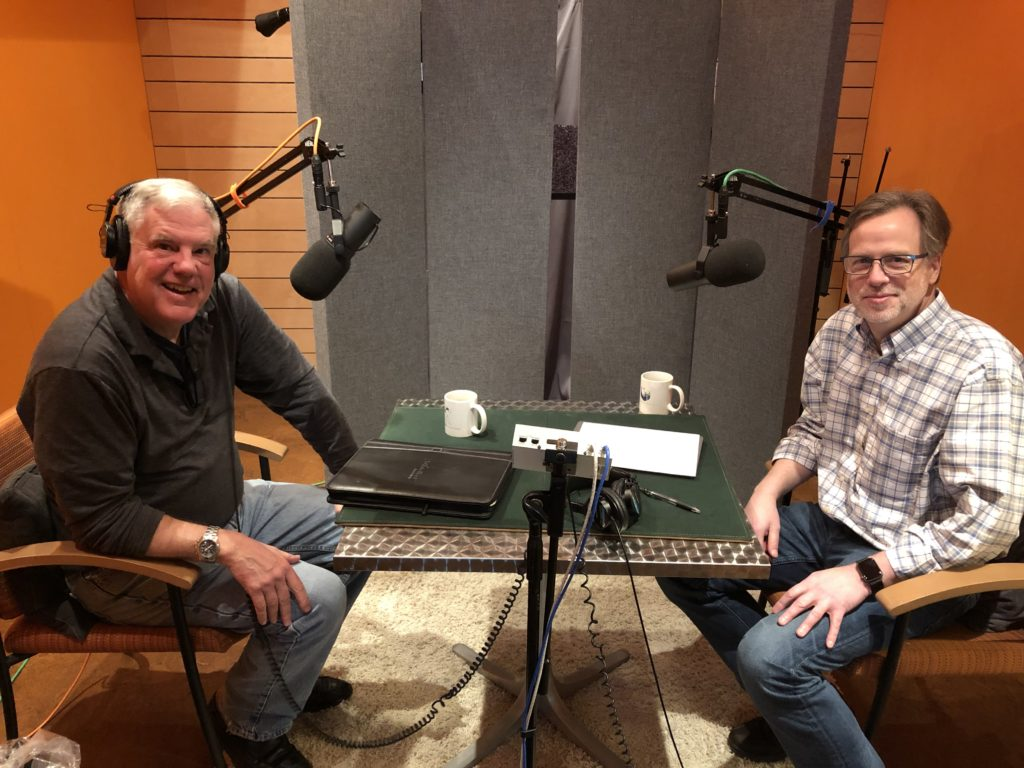 Bill Nussey and Sam Easterby in podcast recording studio