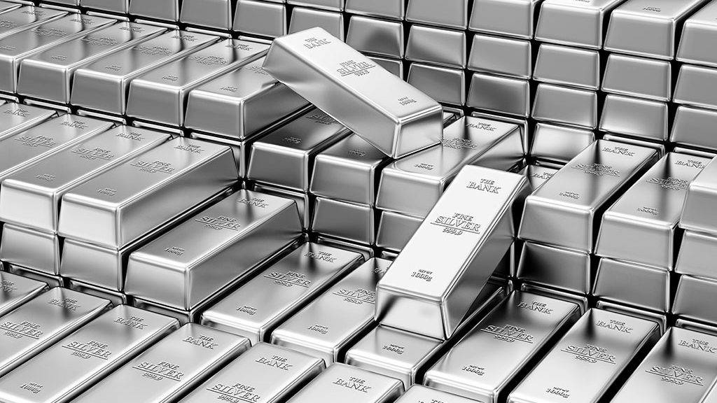 a stack of silver bars